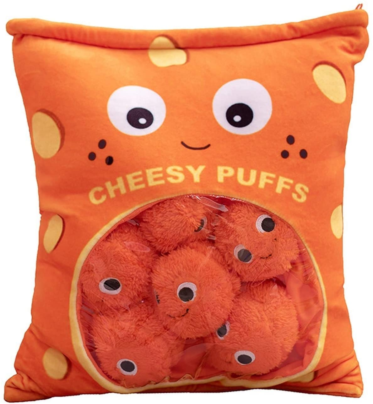 Cheesy Puffs Plush Toy, Stuffed Soft Snack Pillow Plush Puff Toy, Cushion, Delicious Food Dessert Package, Puff Cheese Puff Stuffed Toy Game Pillow (9 Balls)