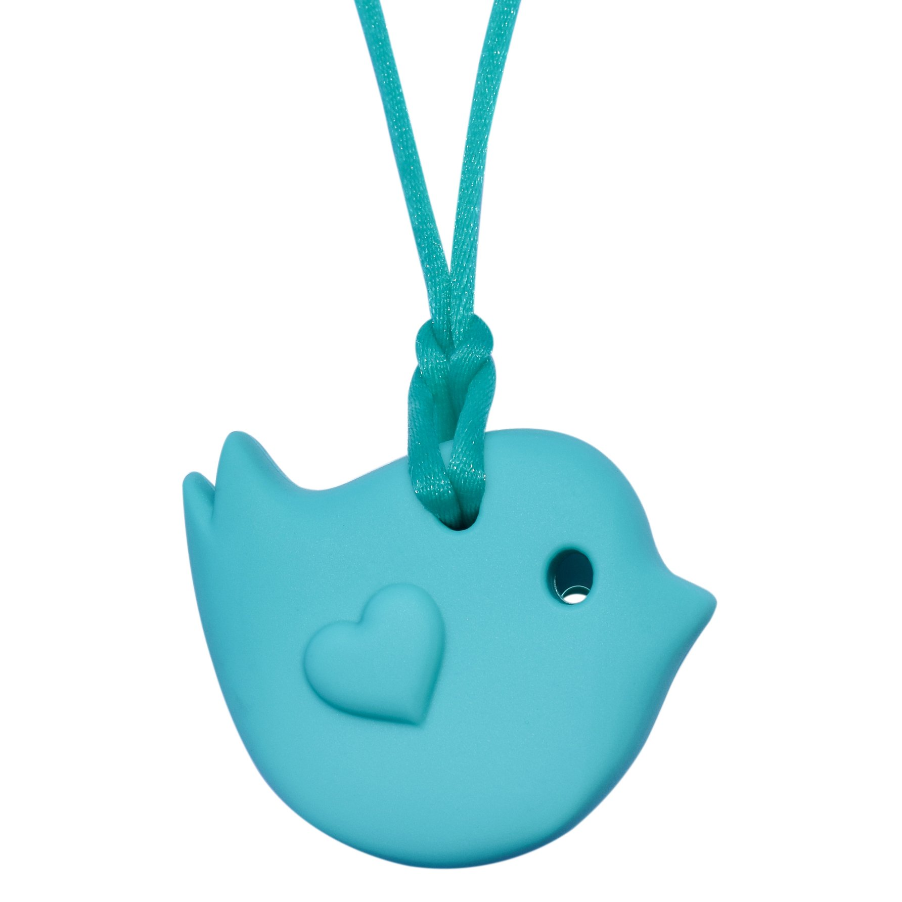 Sensory Oral Motor Aide Chewelry Necklace - Chewy Jewelry for Sensory-Focused Kids with Autism Or Special Needs - Calms Kids and Reduces Biting/Chewing – Little Bird (Aqua)
