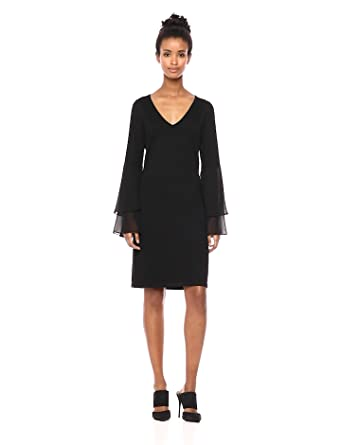 ca0869f935e96 Calvin Klein Women s V Neck Sweater Dress with Tiered Chiffon Bell Sleeve
