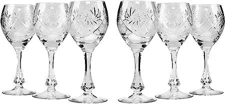 Neman Crystal TM6874 Lot de 6 verres à vin rouge en cristal, style ancien, faits à la main, verres à pied vintage uniques, 300 ml