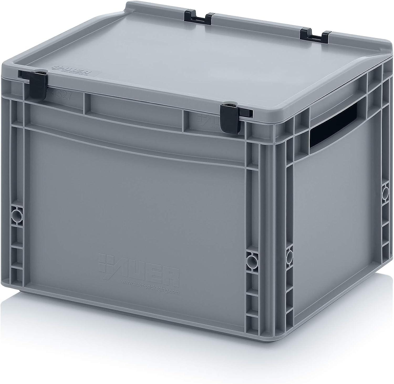 Contenedor de plástico con tapa, apilable, eurocontenedor, caja de almacenamiento. 12 tamaños Producto muy resistente fabricado en Alemania. Eurocontenedor con tapa con bisagras y palancas de cierre., gris: Amazon.es: Bricolaje y herramientas