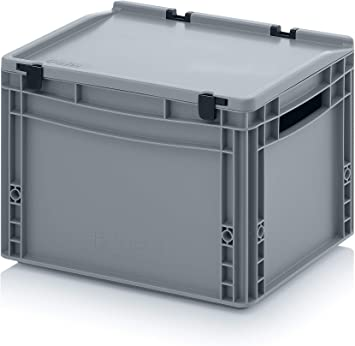 Contenedor de plástico con tapa, apilable, eurocontenedor, caja de ...