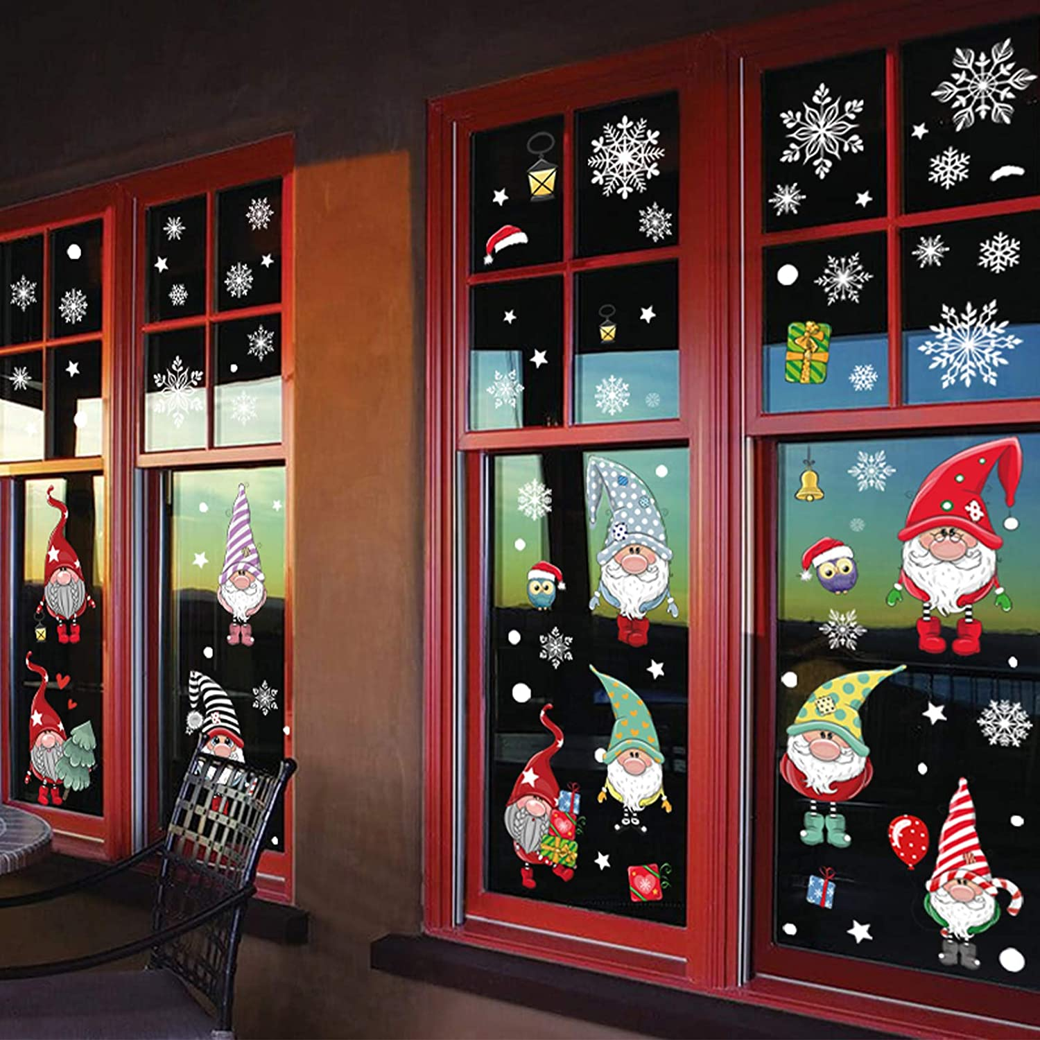 102 Pieces Christmas Gnome Window Clings Holiday Decorations Winter Xmas Elf Scandinavian Tomte Window Decals Holiday Christmas Party Supplies
