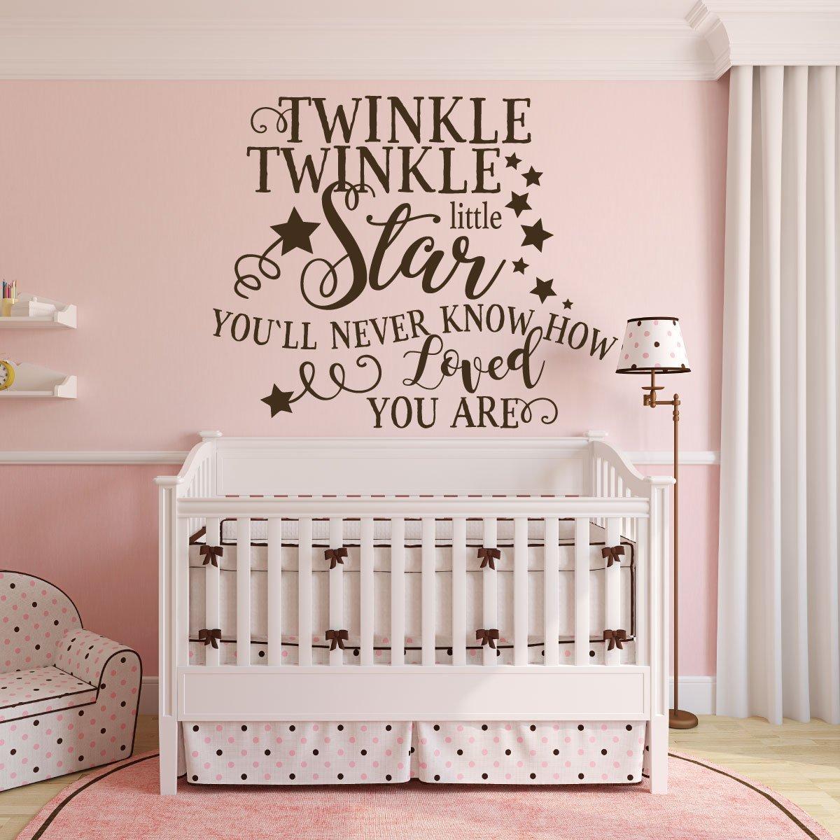 white TWINKLE TWINKLE LITTLE STAR Wall Art pink or blue black Vinyl Sticker