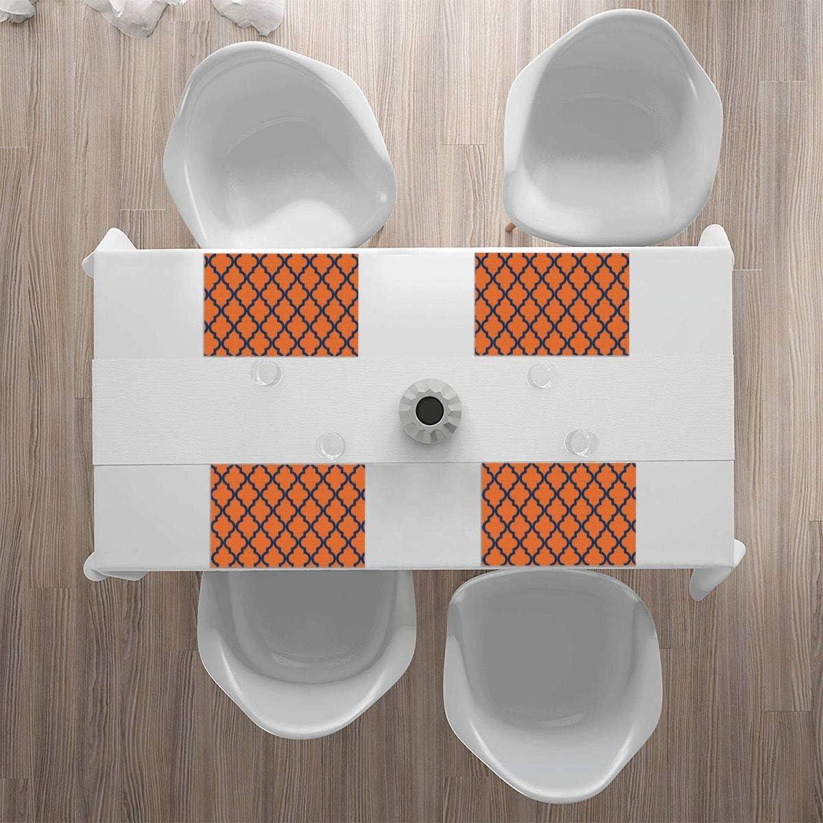 color naranja y azul marino bandeja alfombrilla lavable para cocina Juego de 4 manteles individuales para mesa de comedor dise/ño marroqu/í mesa de cena suave y ligero.