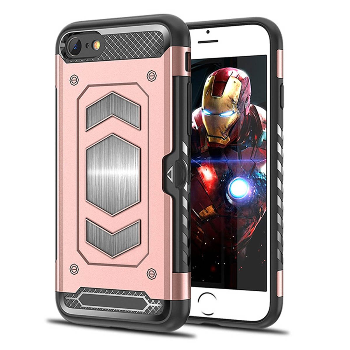 Hy series-heima Extreme耐衝撃頑丈保護ケースカードホルダー&メタルプレートマグネット車用マウントIphone 7 /8 (4.7インチ) iPhone 7/8 (4.7 inch) HYI78-US-Rose Gold iPhone 7/8 (4.7 inch) Rose Gold-HY Series B07D3KQDTG