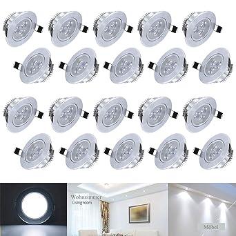 HengdaR LED Decken Einbaustrahler Fr Badezimmer Wohnzimmer Kche Spot Leuchte Lampe Set 230V 20X