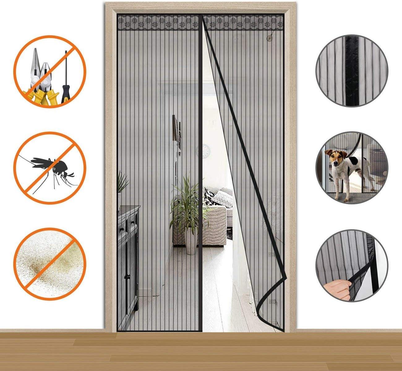 COAOC Cortina Mosquitera Magnetica, Verano Cortina MagnéTica con Durable para Puertas Correderas/Balcones/Terraza - Negro 140x240cm(55x94inch): Amazon.es: Hogar
