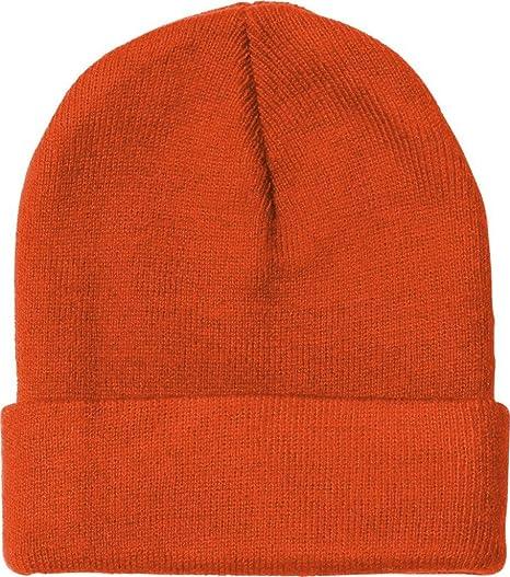 b57af0d48cb Bayside BA3825 Knit Beanie With Cuff - Bright Orange -  One Size at ...