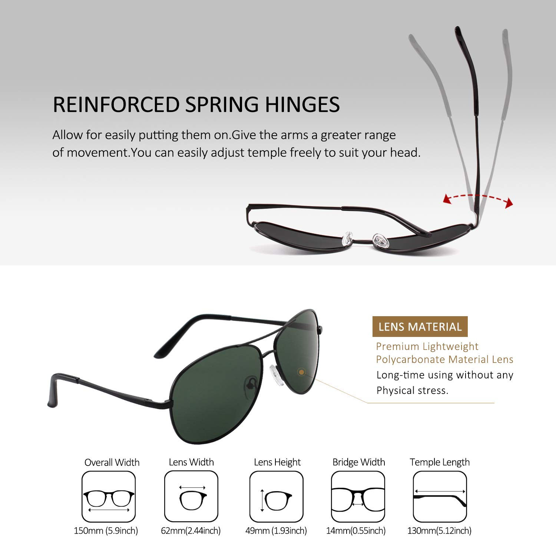 82c3a2a43e9 Amazon.com  LINVO Classic Premium Military Style Pilot Polarized Sunglasses  for Men Women  Clothing