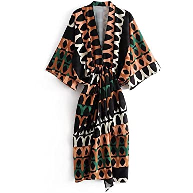 Amazon Ciucoo Women Summer Printed Draped Dress Flowing V Neck