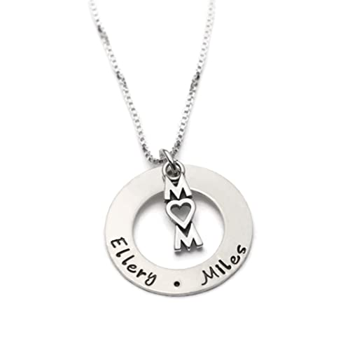 a24846c4afc0d Mom Personalized Necklace, Hand Stamped with Kids Names, Sterling Silver  Custom Necklace, Mother's Day Gift, Gift for Mom