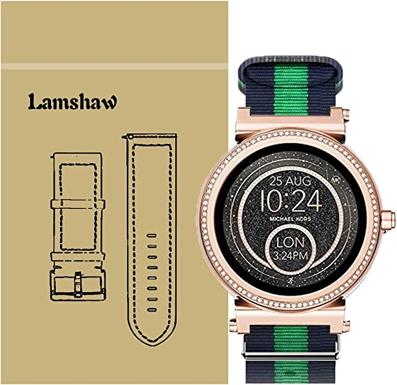 for Michael Kors Access Sofie Bands, Lamshaw Ballistic Nylon Straps for MK Access Smartwatch Sofie Gen 2 (Blue+Green+Blue)