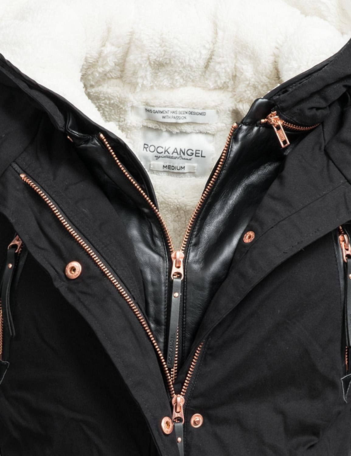 Details zu ROCK ANGEL WARME DAMEN WINTER JACKE PARKA WINTER MANTEL Kunst lederärmel BRS