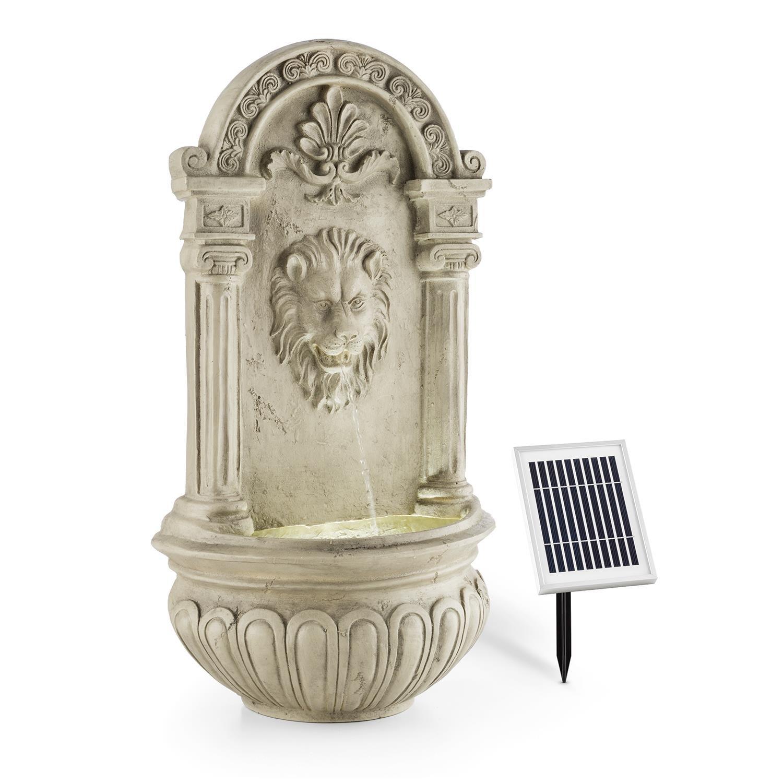 Blumfeldt Fontaine de jardin • 2W solaire • LED à 4 rayon intégré polyrésine • jeu d'eau avec tête de lion crachant • prévue pour une installation murale • mini-pompe pour faire circuler jusqu'à 200l/h d'eau • effet détente garanti • imitation pierre