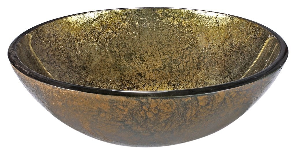 InFurniture ZA-1208 Round Tempered Glass Sink Bowl, 0.5'' x 5.5'', Gold/Green by InFurniture