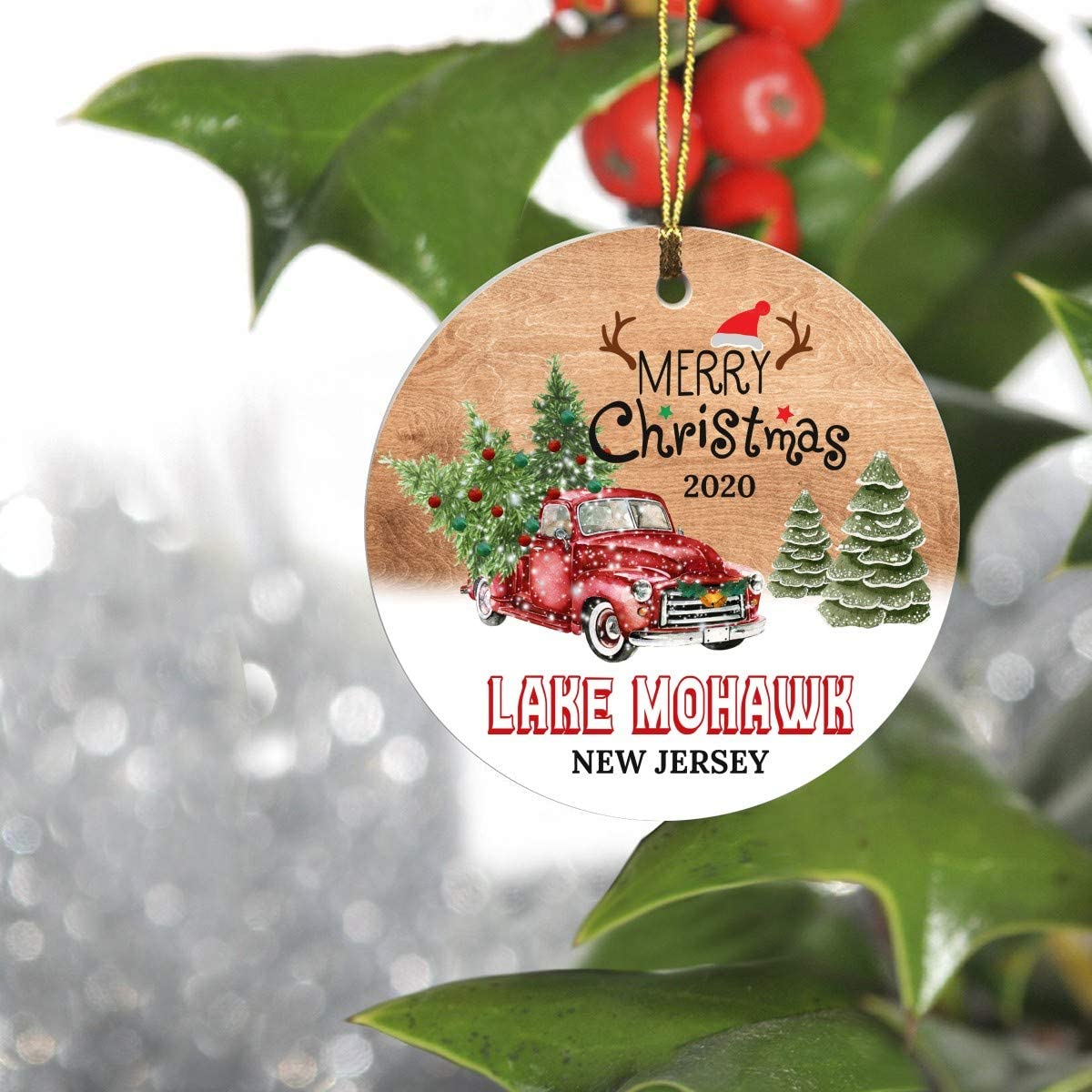 """Merry Christmas Tree Decorations Ornaments 2020 - Ornament Hometown Lake Mohawk New Jersey NJ State - Keepsake Gift Ideas Funny Ornament 3"""" for Family, Friend and Housewarming"""