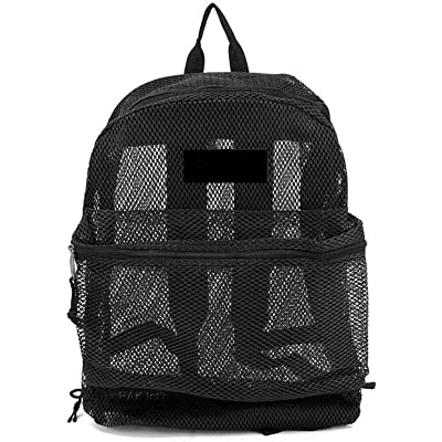 Travel Mesh Transparent See Through Mesh Backpack/School Bag (Black): Toys & Games