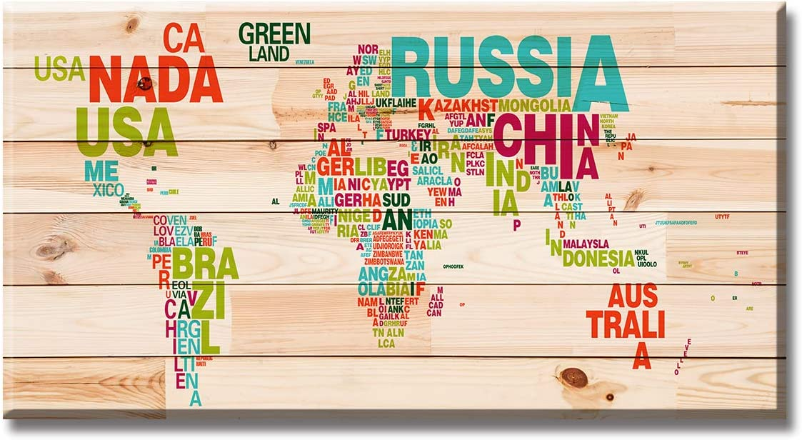 Abstract World Map Wall Art Office Decor Canvas Colorful Pictures Print Modern Global Earth Travel Woodgrain Background Artwork for Living Room Bedroom Home Decoration Stretch and Framed Ready to Hang
