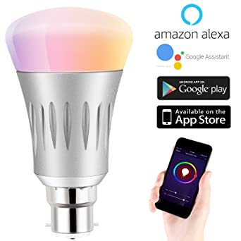 Bombilla LED RGB Bombilla inteligente, funciona con wifi, intensidad regulable, 7W