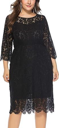 FEOYA - Mujer Vestido de Noche Encaje Cuello Redondo para ...