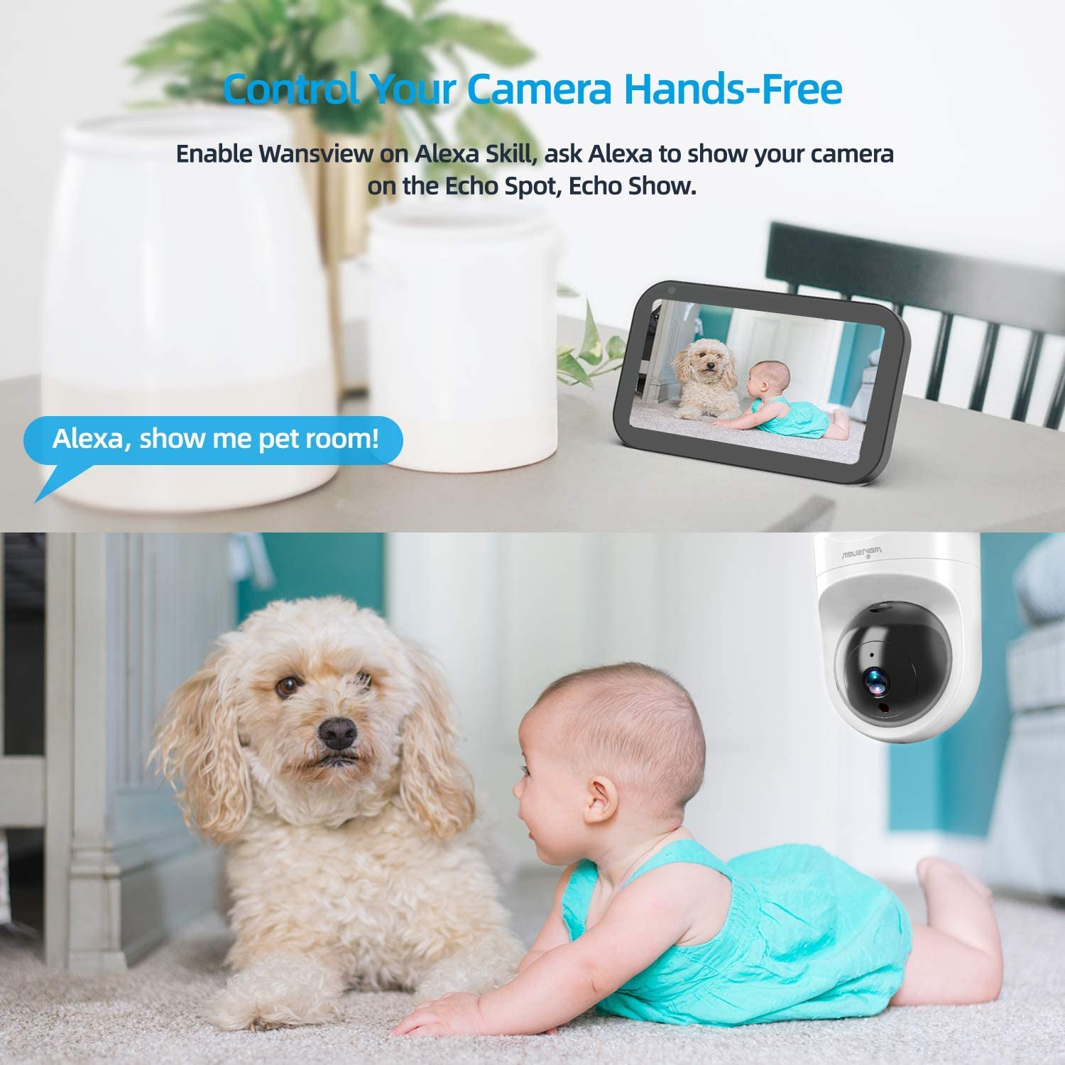 Baby Monitor Camera, Wansview 1080PHD Wireless Security Camera for Home, WiFi Pet Camera for Dog and Cat, 2 Way Audio, Night Vision
