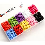 GANSSIA 3/8'' (9mm) Sewing Flatback Resin Buttons 10 Colors Multi-Colored Pack of 750 With Box