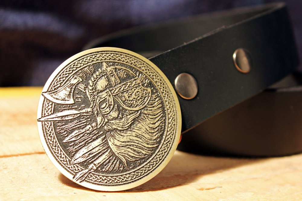 Viking Warrior Belt Buckle NORSE Etched Metal