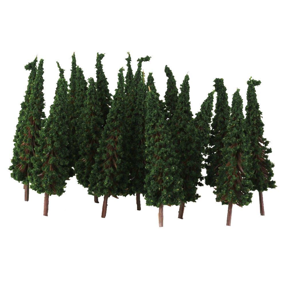 50pcs Pagoda Trees Model Train Railroad Scenery 1:100 (Dark Green) Generic