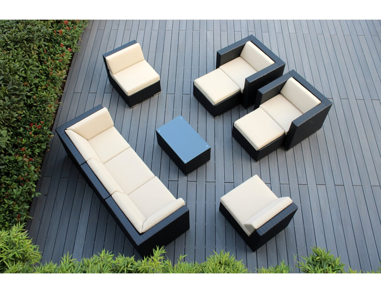 amazoncom ohana 10piece outdoor wicker patio furniture sectional set with weather resistant cushions beige pn1001 patio sofas patio