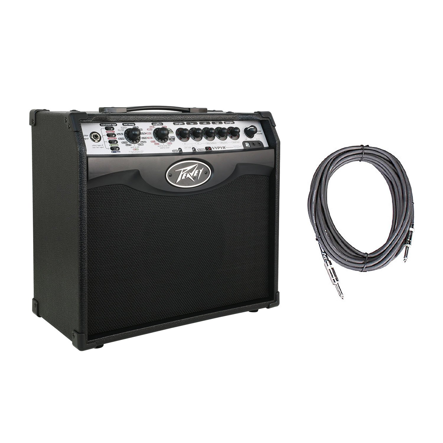 Peavey Vypyr VIP 1 Combo Modeling Instrument 20 Watt Amplifier Amp + 10' Instrument Cable by Peavey