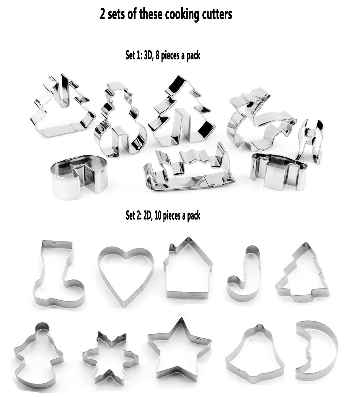 18 Pieces Christmas Holiday Metal Cookie Cutter Set - 3D Christmas Tree, Snowman, Reindeer, Sled + Mini Heart Shaped, Snowflake, Tree, Star, House,Candy Cane, Moon, Bell, Gingerbread Girl, Stocking