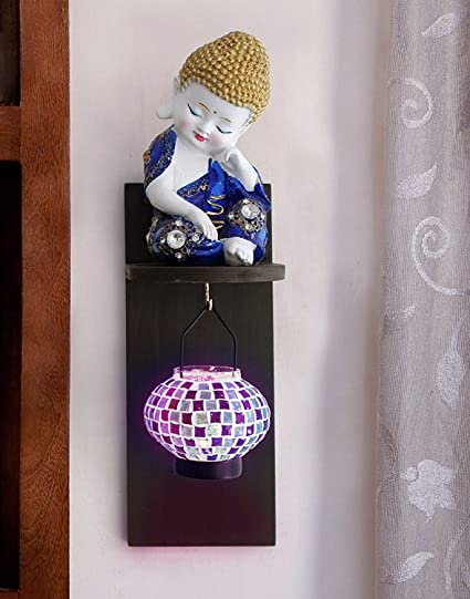 Tied Ribbons Glass Decorative Items For Home Decoration Living Room Combo Pack Buddha Monk Idol Wooden Hanging Shelf Glass Tea Light Holder