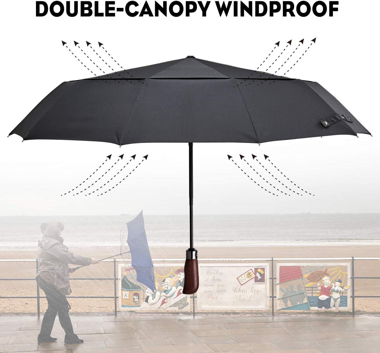 OCANIA Travel Umbrella Auto Open//Close Windproof Compact Folding Umbrella Real Wood Handle Umbrella for Mens Womens Double Canopy Wind Resistant Construction