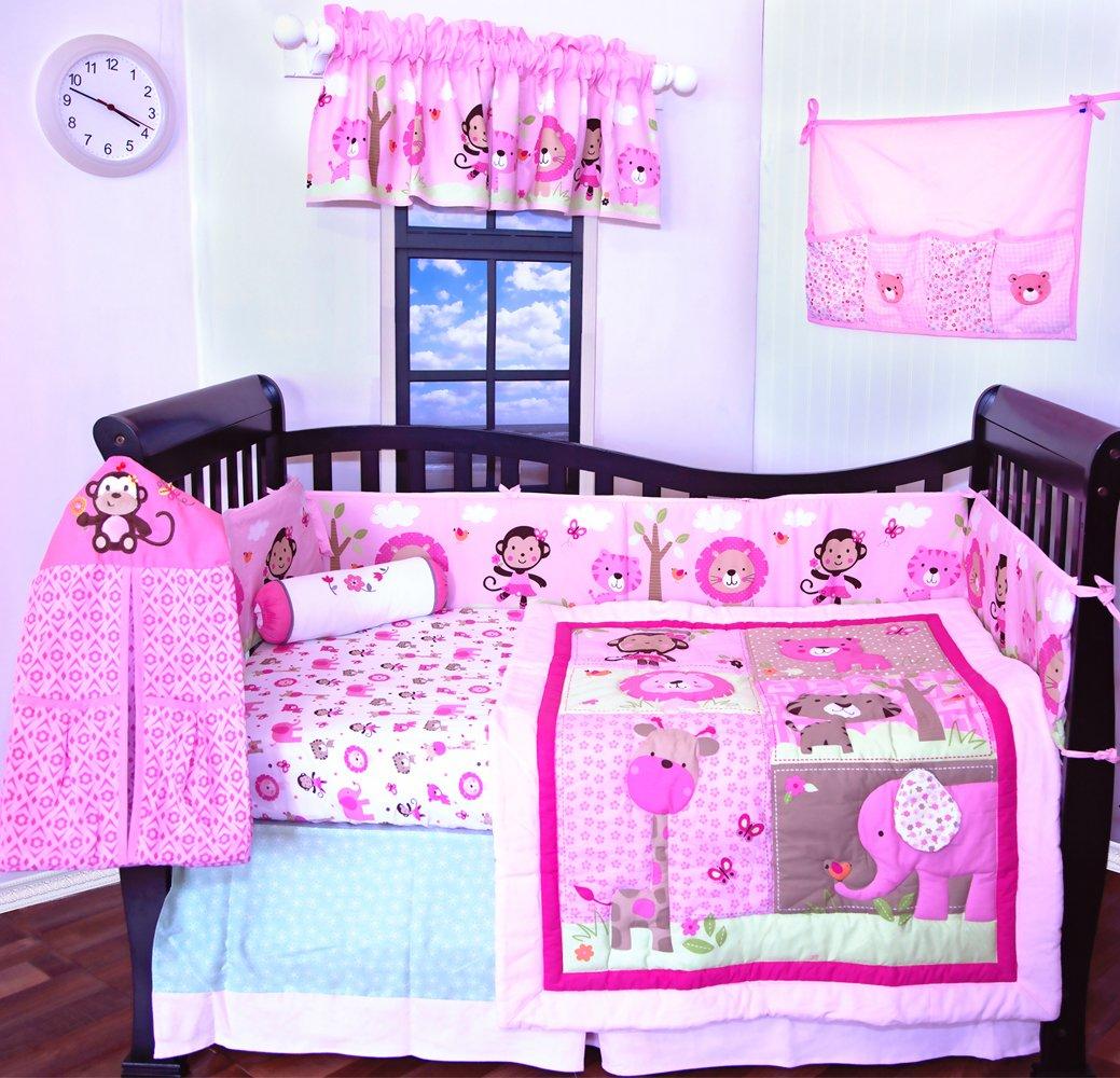 12 Pcs Designer Crib Bedding Nursery Set.Pink Giraffe and Friends,baby girl bumper included
