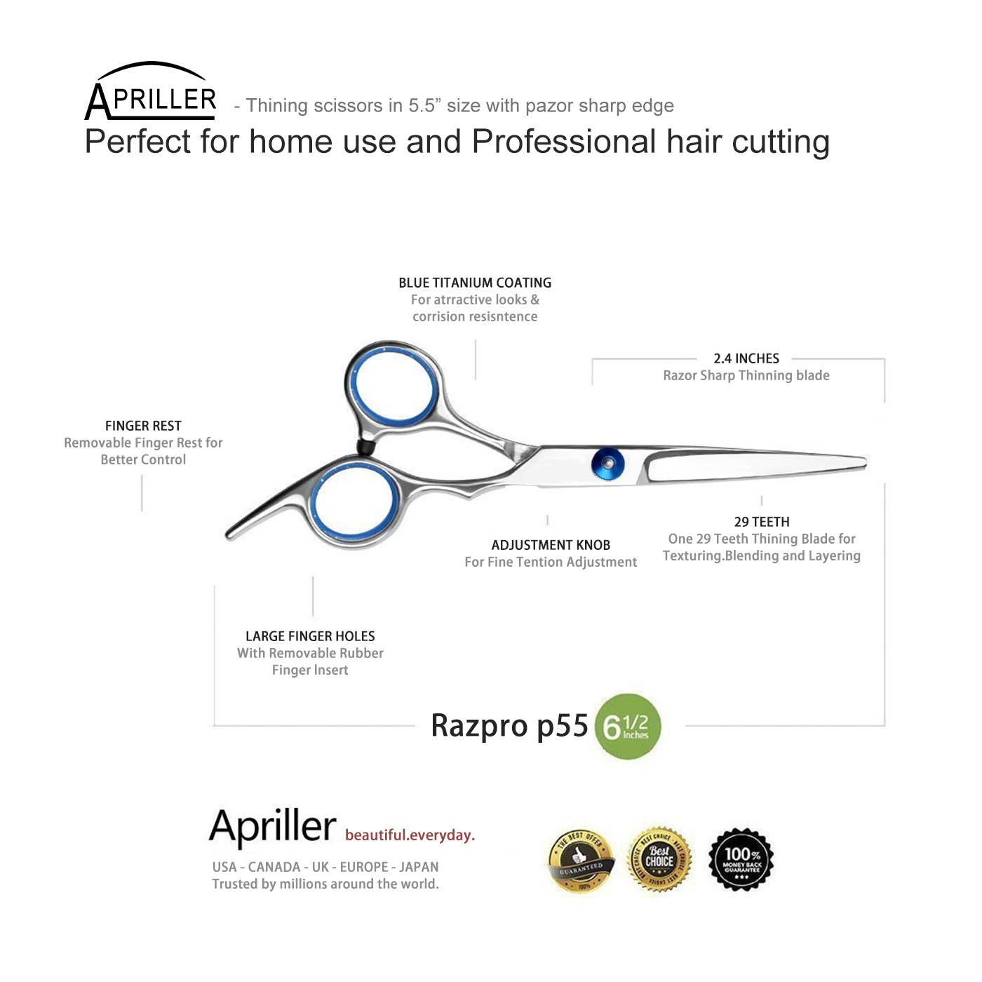 Hair Cutting Scissors/Thinning Shears/Professional Barber/Salon Razor Edge Tools set/Mustache Scissors and Barber Scissors with Fine Adjustment Screw-High Quality Japanese Stainless Steel kit-Apriller by Apriller (Image #2)