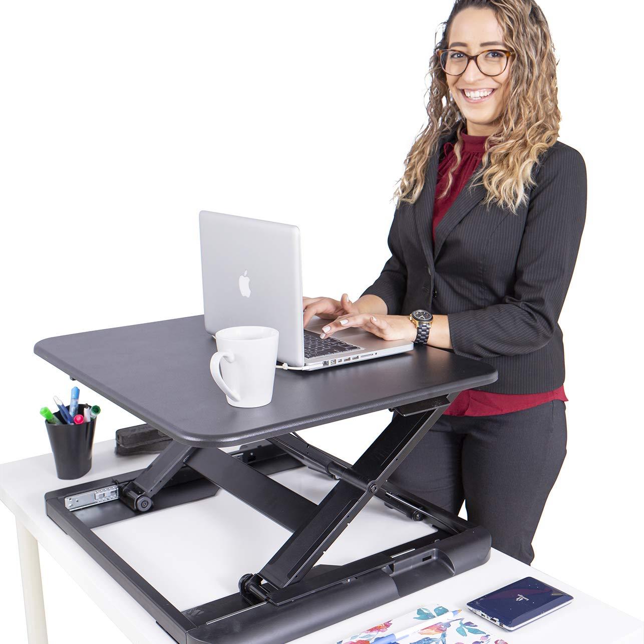 TOTALPACK Standing Desk Sit Stand Desk Converter - Anti Fatigue Height Adjustable Workstation, Extra Large 26.5'' x 22.2'' Desktop Surface, Easy to Raise & Lower - Pre-Assembled, Black