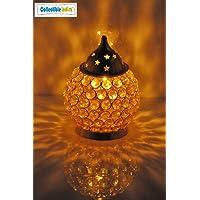 Collectible India Akhand Diya Decorative Brass Crystal Oil Lamp Tea Light Holder Lantern Oval Shape   Puja Lamp