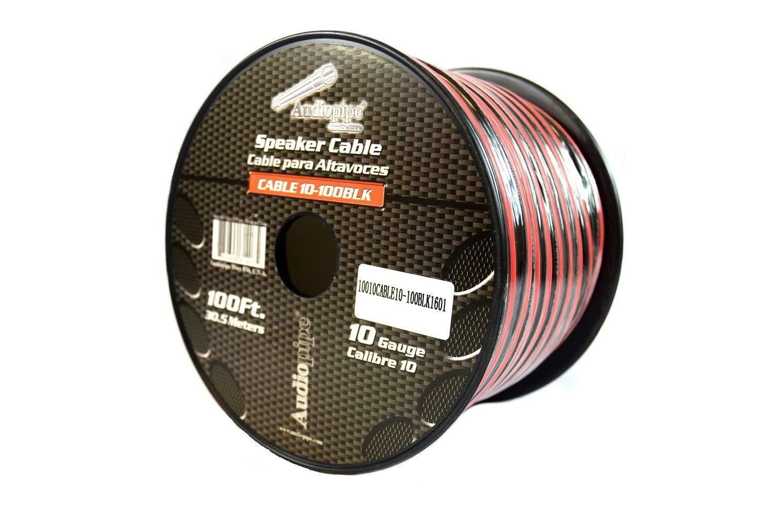 100 ft 10 gauge awg Red Black Stranded 2 Conductor Speaker Wire Car Home Audio Audiopipe FBA_Ground 12 Volt Hook Up Lead LED