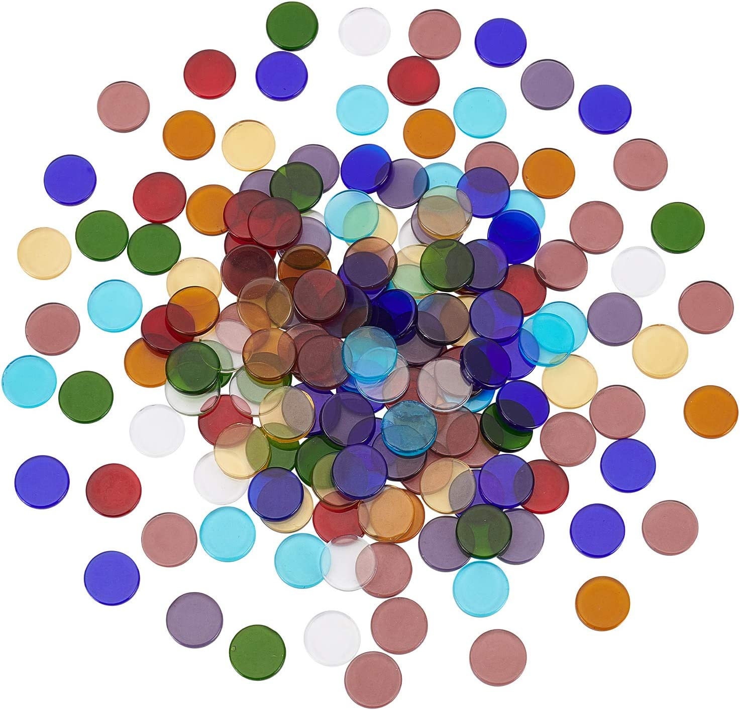 SUPERFINDINGS About 180pcs Flat Round Glass Mosaic Tiles Stained Glass Assorted Mixed Colors Perfect for Art Craft and Home Decorations