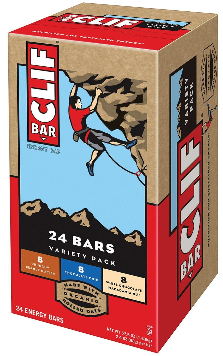 Clif Bar Variety Pack 48 Count Energy Bar (Chocolate Chip, White Chocolate Macadamia Nut, Crunchy Peanut Butter)
