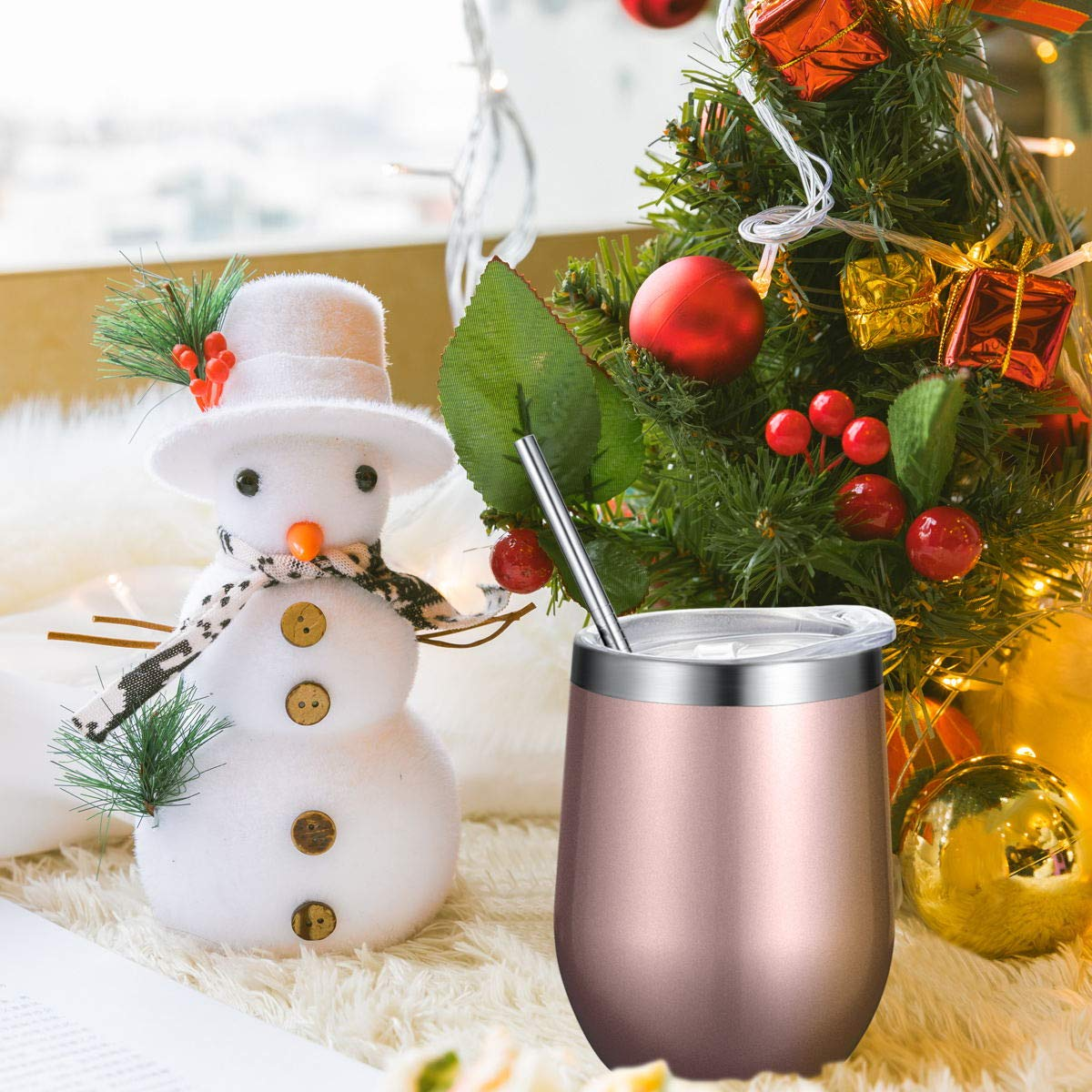 Fungun 6 pack 12 oz Stainless Steel Stemless Wine Glass Tumbler Double Wall Vacuum Insulated Wine Tumbler with Slip Lids Set of 6 for Coffee, Wine, Cocktails, Ice Cream Including 6 Straws(Rose Gold) by Fungun (Image #6)