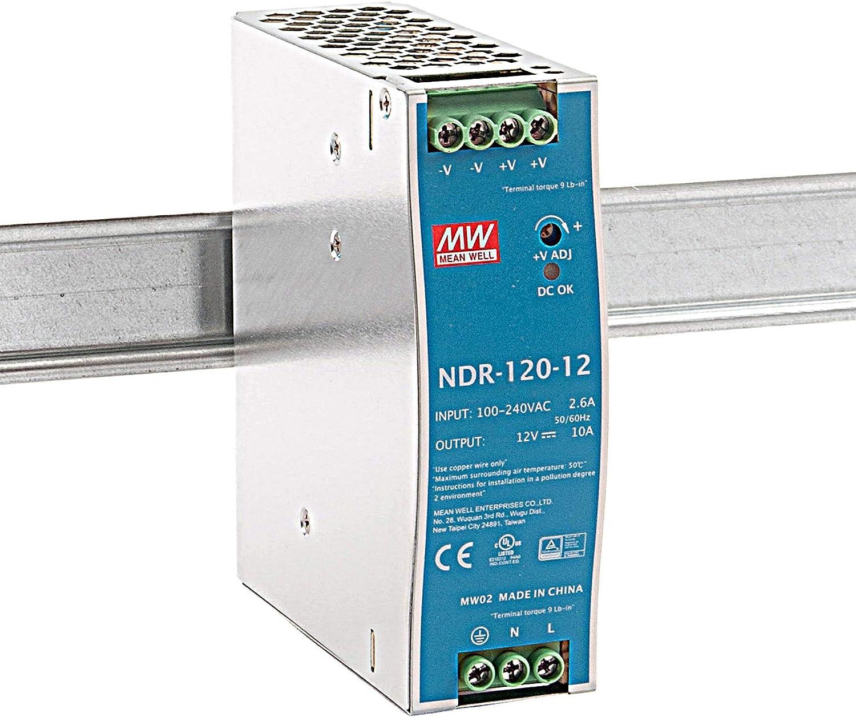 MeanWell NDR-120-12 120W 12V 10A Alimentación de Din Rail DIN-RAIL