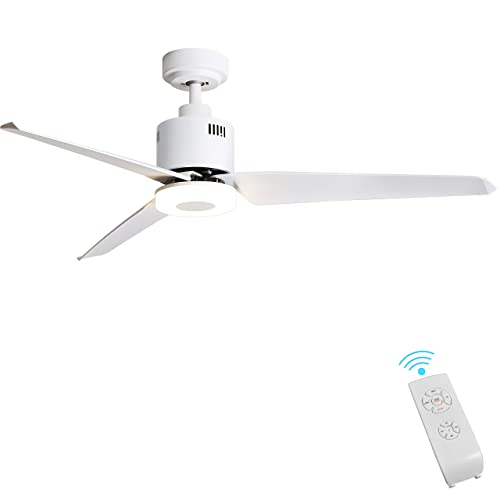 Indoor Ceiling Fan Light Fixtures – FINXIN White Remote LED 52 Ceiling Fans For Bedroom,Living Room,Dining Room Including Motor,3-Blades,Remote Switch 3-Blades