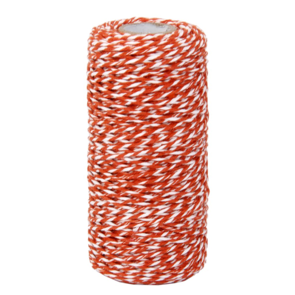 100M Wrap Gift Cotton Rope Ribbon Twine Rope Cord String Orange Generic