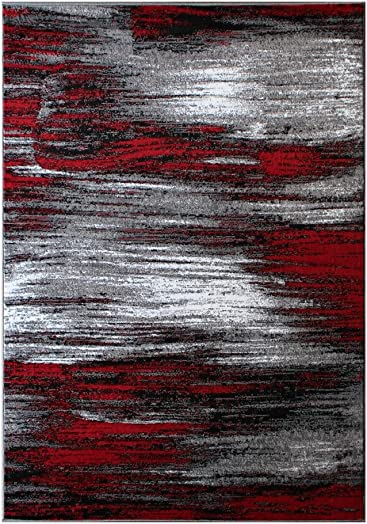 Masada Rugs, Modern Contemporary Area Rug, Red Grey Black 8 Feet X 10 Feet