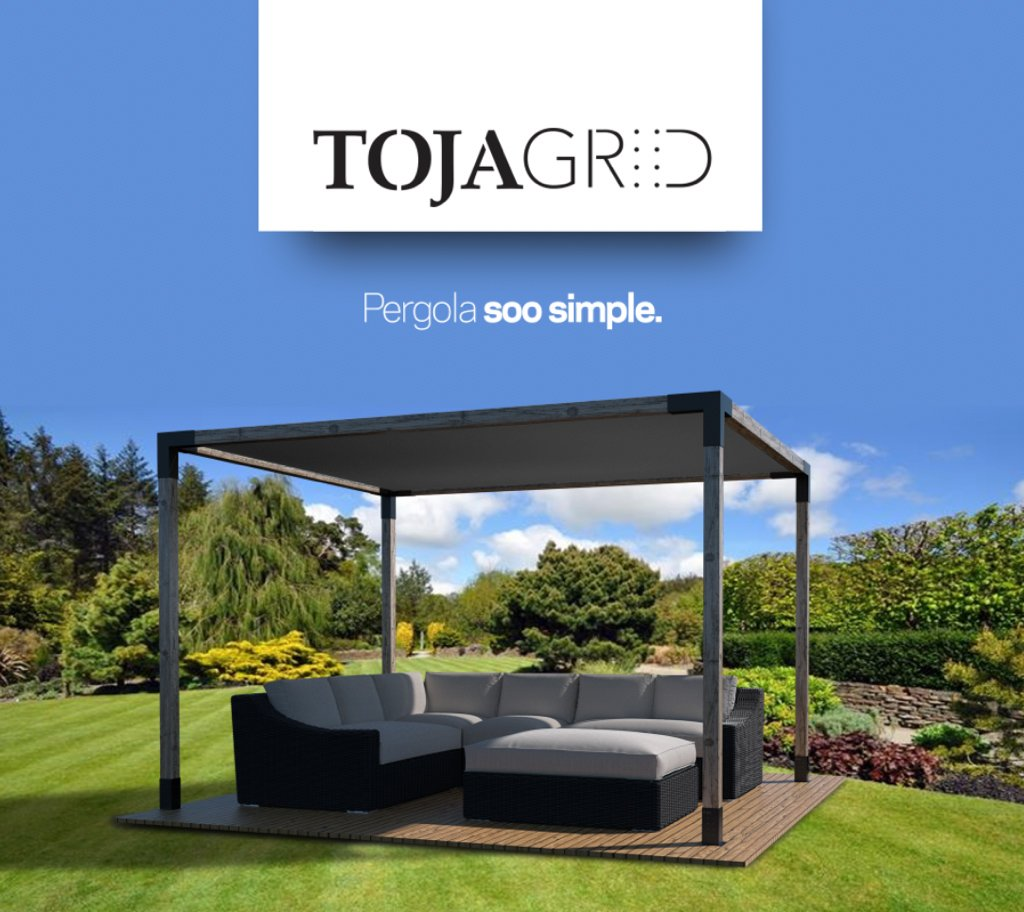 TOJA GRID SA41212GR13 System for 4×4 Wood Posts Modular Pergola, Black
