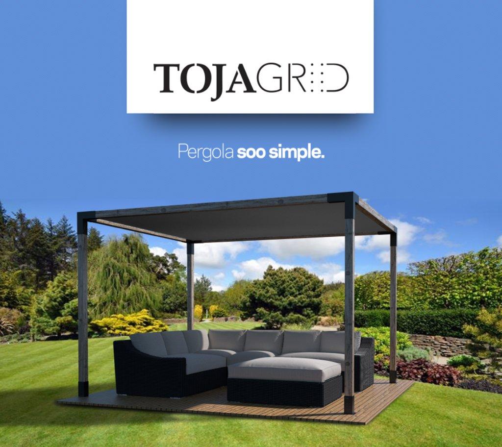 Toja Grid Pergola Kit - Easy Assembly Pergola with Shade Sail (10x12, Matt Black)  by TOJA GRID PERGOLA SYSTEM