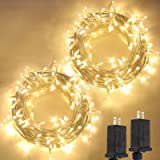2-Pack Extendable Christmas String Lights, 200 LED Upgraded Super Bright Outdoor Lights String with 8 Lighting Modes, Waterpr
