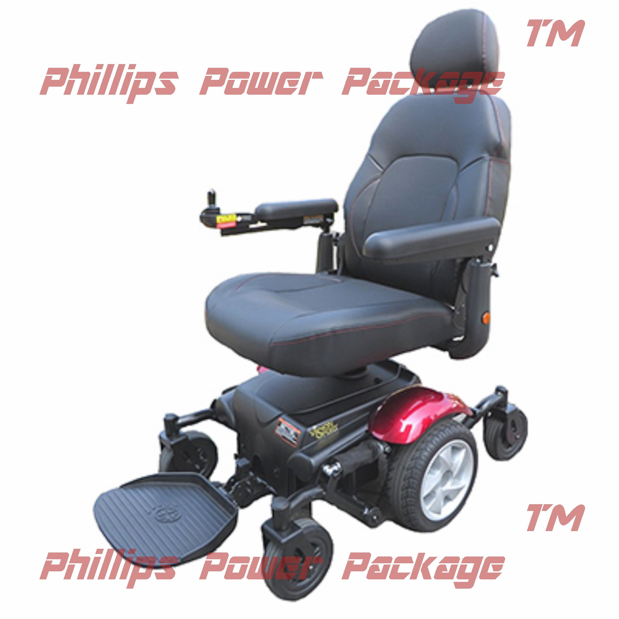 Merits Health Products - Vision Sport - Midwheel Drive Power Chair- 19''W x 18''D - Red - PHILLIPS POWER PACKAGE TM - TO $500 VALUE